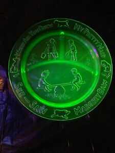 Vintage See Saw Margery Daw Green Uranium Glass Nursery Rhymes Divided Plate
