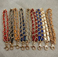Leather Metal Chain Handbag Wallet Handle Purse Strap Wristlet for Clutch Bag