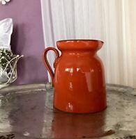 Vintage 70er Keramik Kanne Milchkanne Orange- Rot Krug SCHÖN Saftkanne Landhaus