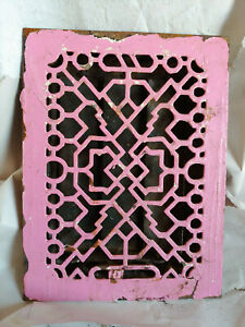 Antique Cast Iron Heating Grate Art Deco Louvers Intact Salvage Marked PAT PEND
