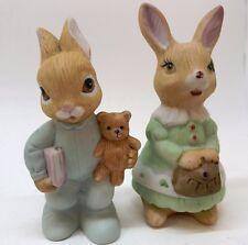 Home Interiors figurine 1466 Rabbits Momma Bunny & Baby Boy Bunny