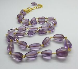 01 Natural Gemstone Amethyst Beads Necklace 22K Gold Beaded Chain 22 Inch Long