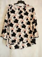 Alfani Great Heron Pattern V-Neck Blouse Bell Sleeve Women's Plus Size 1X NWT