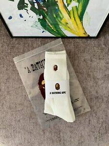 A bathing Ape socks (BAPE) | Embroidery ape white | 1 pair | Brand new UK