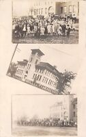 Marathon IA Horse-Drawn Buses Carry Students to Centralized School~RPPC c1910