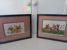 ROBERT MARBLE M. MAXON FRAMED & MATTED SIGNED ART TEDDY BEARS & BUTTERFLIES
