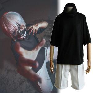 Tokyo Ghoul Kaneki Ken Irregular Cuff Black Top Pants Set Outfit Cosplay Costume