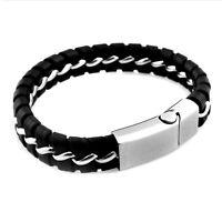 Mens Boys Silver Stainless Steel Black Leather Braided Woven Bracelet Gift