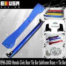 EMUSA 1996-2000 Honda Civic Rear Tie Bar Subframe Brace + Tie Bar BLUE