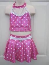 Meekelle Pink White Heart 2 Piece Competition Dance Costume MC Medium Child