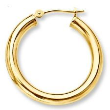 """13.5mm 9/16"""" Mens Single Hoop Earring with Secure Snap Bar Real 14K Yellow Gold"""