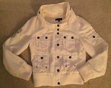 Vero Moda Nylon Bomber Jacket Coat Ivory Sz M w/Hood Women's