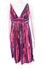 Carmen Marc Valvo Womens Striped Pleated Empire Waist Dress Pink Purple Medium