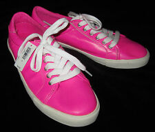 Gap New Womens Pink Glo Neon Leather Sneakers Shoes 6 $50