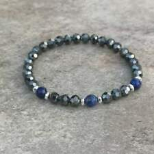 'Style By Night' Hematite Bracelet Lapis Lazuli Beads Natural Stones Jewellery