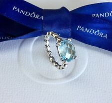 d56a8f232 Authentic Genuine Pandora Silver Blue Topaz Bubble Band Ring Size 50  #190869BTP