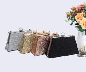 New Women's Diamanti Crystal Clasp Hardcase Glitter Clutch Evening Bag Handbag