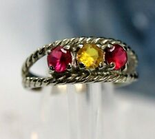 Vintage 10K WHITE GOLD, Red & Yellow Stones Womens Ring: SIZE 5 - 2.7 Grams