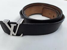 AUTHENTIC LOUIS VUITTON  WOMENS   BLACK LEATHER BELT M9604 LV LOGO SZ 100/40