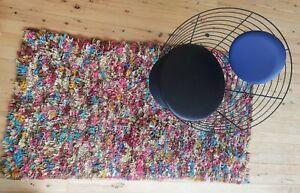 Vintage Boucherouite. Rag rug, handwoven. Moroccan tribal 1.87 M x .99 M