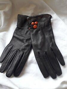 BNWT Per Una Ladies OneSize Chocolate Brown Leather Gloves Wiv Orange Button...