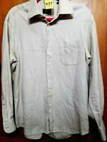Mens Size 16 34/35 HUGO BOSS Plaid White Tan Button Front Long Sleeve Shirt