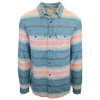 Quiksilver Men's Blue Coral Cream Stripe L/S Flannel Shirt (S07)