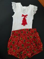 Handmade Christmas Nappy Cover/bloomer and Singlet Set Sz 00, 000