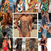 2019 Women Bikini One Piece Monokini Push Up Floral Leopard Swimsuit Swimwear US