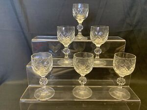 LOVELY - Lead Crystal Sherry / Port Glasses x 6 - Pristine Condition