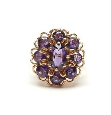 Vintage London 1975 9ct Yellow Gold LARGE AMETHYST FLOWER CLUSTER RING 5g UK O