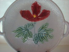 Vintage Zell Majolica Serving Plate with Basketweave Design and Red Hibiscus