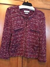 Etoile Isabel Marant SZ Small Red Blue Cotton Blend Knit Tweed Jacket Sweater