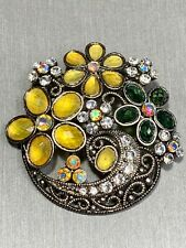 Exquisite Noblesse Silver Tone AB Rhinestone Brooch Pin Yellow Green Pretty!