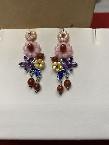 Jardin Collection Multi Color MOP, Multi Gem Carved Flower Dangle Earrings