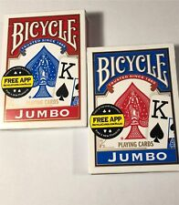 2 decks of Bicycle Poker Size Jumbo Index Playing Cards (1) Blue and (1) Red