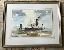 "John Yardley - Original Framed Watercolour of Thames Barges ""Changing Sky"""
