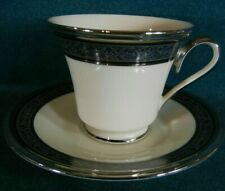 Lenox Moonlight Mood Footed Cup Saucer Coffee Tea Floral Platinum Green Black