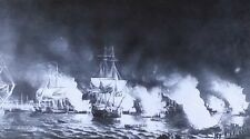 French Fire Ships Attacking British Fleet at Quebec, Magic Lantern Glass Slide