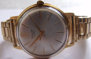 "MINT-NEW-""POLJOT-mint""- 17jew-GOLD PLATED-20 mikrons- OLD USSR WRIST WATCH MEN,S"