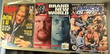 WWE Raw Magazine Lot HHH New In Bag The Rock Smackdown Kurt Angle Steve Austin