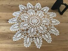 Pretty Vintage Round Crocheted White Lace Table Mat 42cm x 42cm
