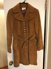 Womens Genuine Leather Camel Suede Snap Front Equestrian Military Jacket