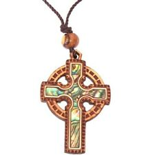 Celtic Olive wood Crucifix with Mother of Pearls (60cm / 23.5 inches, Cross is