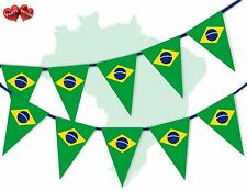 Brazil Full Flag Patriotic Themed Bunting Banner 15 Triangle flags