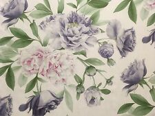 "ZOFFANY ""PHOEBE"" CURTAIN CUSHION BLIND FABRIC ROSE & LILAC 100% LINEN 3m"