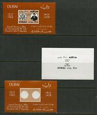 DUBAI JOHN F. KENNEDY MEMORIAL SOUVENIR SHEET PROGRESSIVE COLOR SET MINT NH