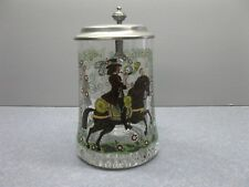 VINTAGE ZINN HAND PAINTED BLOWN GLASS GERMAN LIDDED BEER STEIN/MUG