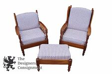 Vintage 1971 Sampler Home Country Spindle Back Chairs & Ottoman Cherry Gingham