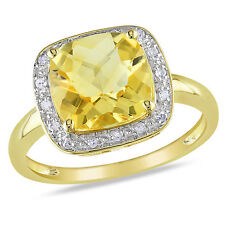 Amour 10k Yellow Gold Citrine and 1/10 Ct TDW Diamond Cocktail Ring G-H I2-3